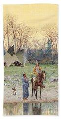 Indian On Horseback Bath Towel