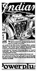 Bath Towel featuring the digital art Indian Power Plus Motocycle Ad 1916 by Daniel Hagerman