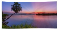 Indian River State Park Bursting Sunset Hand Towel