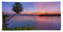 Bath Towel featuring the photograph Indian River State Park Bursting Sunset by Justin Kelefas