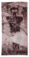Indian Shaman Rock Art Bath Towel by Gary Whitton