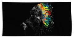 Indian Silhouette With Colorful Headdress Bath Towel