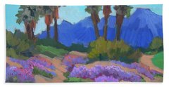 Hand Towel featuring the painting Indian Wells Verbena by Diane McClary