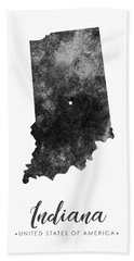 Indiana State Map Art - Grunge Silhouette Bath Towel