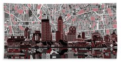 Indianapolis Skyline Abstract 1 Bath Towel