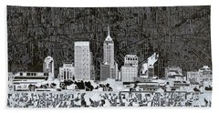 Indianapolis Skyline Abstract 10 Hand Towel