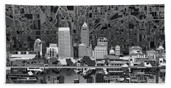 Indianapolis Skyline Abstract 5 Hand Towel by Bekim Art