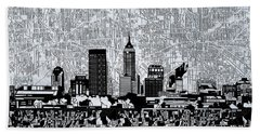 Indianapolis Skyline Abstract 9 Bath Towel by Bekim Art