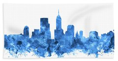 Indianapolis Skyline Watercolor Blue Bath Towel by Bekim Art