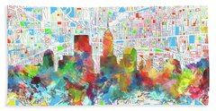 Indianapolis Watercolor Skyline Hand Towel by Bekim Art