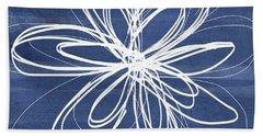 Indigo And White Flower- Art By Linda Woods Hand Towel