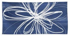 Indigo And White Flower- Art By Linda Woods Bath Towel