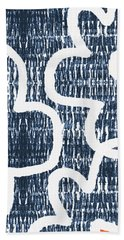 Hand Towel featuring the mixed media Indigo And White Jumbo Flowers- Art By Linda Woods by Linda Woods