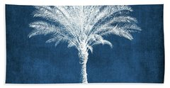 Indigo And White Palm Tree- Art By Linda Woods Bath Towel