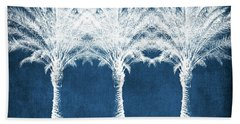 Indigo And White Palm Trees- Art By Linda Woods Bath Towel