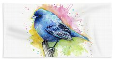 Indigo Bunting Blue Bird Watercolor Bath Towel