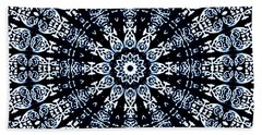 Bath Towel featuring the digital art Indigo Flow Blue Kaleidoscope by Joy McKenzie
