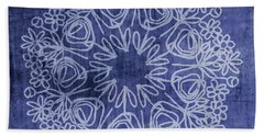 Indigo Mandala 1- Art By Linda Woods Hand Towel