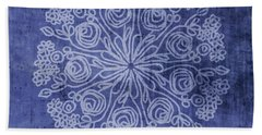 Indigo Mandala 2- Art By Linda Woods Bath Towel