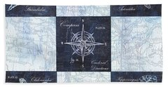Indigo Nautical Collage Bath Towel