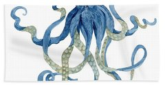 Indigo Ocean Blue Octopus  Bath Towel