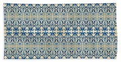 Indigo Ocean - Caribbean Tile Inspired Watercolor Swirl Pattern Bath Towel