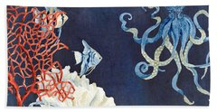 Indigo Ocean - Floating Octopus Bath Towel by Audrey Jeanne Roberts