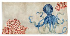 Indigo Ocean - Octopus Floating Amid Red Fan Coral Hand Towel
