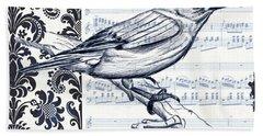 Indigo Vintage Songbird 1 Hand Towel