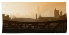 Industrial Foggy Chicago Skyline Hand Towel