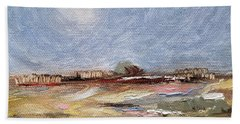 Bath Towel featuring the painting Inevitable Epoch by Judith Rhue