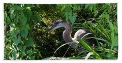 Injure Blue Heron Hand Towel by Donna Brown