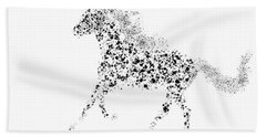 Hand Towel featuring the drawing Ink Splattered Stallion by Nick Gustafson