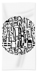 Inky Village Sketch Ball- Art By Linda Woods Bath Towel