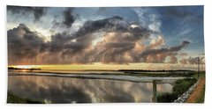 Inlet Sunrise Panorama Hand Towel by Phil Mancuso