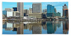 Inner Harbor Reflections Bath Towel by Emmy Marie Vickers