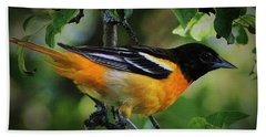 Inquisitive Oriole Bath Towel
