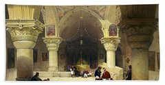 Inside The Church Of The Holy Sepulchre In Jerusalem Hand Towel