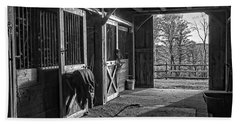Bath Towel featuring the photograph Inside The Horse Barn Black And White by Edward Fielding