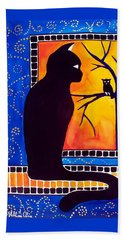 Hand Towel featuring the painting Insomnia - Cat And Owl Art By Dora Hathazi Mendes by Dora Hathazi Mendes
