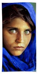 Hand Towel featuring the digital art Inspired By Steve Mccurry's Afghan Girl by Charlie Roman