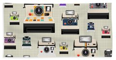 Instant Camera Pattern Hand Towel