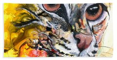 Hand Towel featuring the painting Intensity by Sherry Shipley