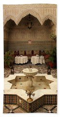 Interior Of A Traditional Riad In Fez Hand Towel by Ralph A  Ledergerber-Photography