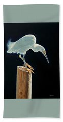 Interlude - Snowy Egret Bath Towel