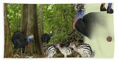 Zoo Nature Interpretation Panel Cassowaries Blue Quandong Bath Towel