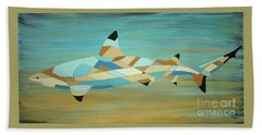 Into The Blue I Shark Painting Bath Towel