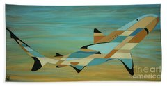 Into The Blue Shark Painting Hand Towel