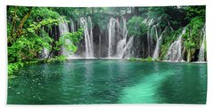 Into The Waterfalls - Plitvice Lakes National Park Croatia Hand Towel