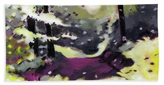 Hand Towel featuring the painting Into The Woods 2 by Anil Nene